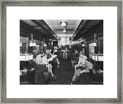 Northern Pacific Lounge Car Framed Print by Underwood Archives