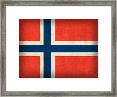 Norway Flag Distressed Vintage Finish Framed Print by Design Turnpike