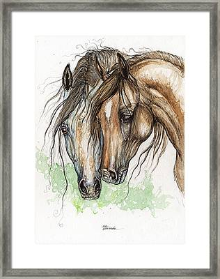 Nose To Nose Watercolor Painting Framed Print by Angel  Tarantella
