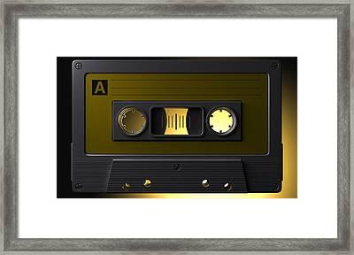 Nostalgic Macro Cassette Tape Framed Print by Allan Swart