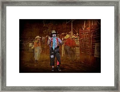 Not Skeered Of A Little Bull Framed Print by Toni Hopper