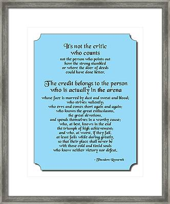 Not The Critic Framed Print by Mike Flynn