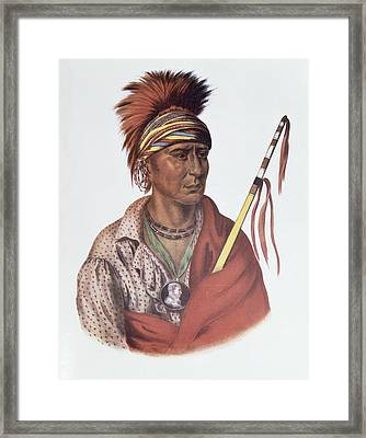 Notchimine Or No Heart, An Iowa Chief, 1837, Illustration From The Indian Tribes Of North America Framed Print by Charles Bird King