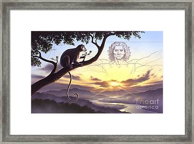 Notharctus Sits On A Tree Branch Framed Print by Jerry LoFaro