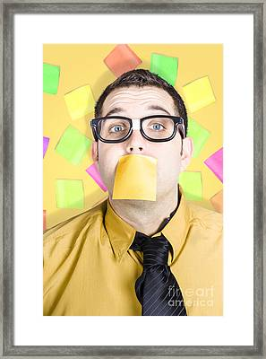 Notice Board Businessman With Crazy To-do List Framed Print by Jorgo Photography - Wall Art Gallery