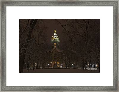 Notre Dame Golden Dome Snow Framed Print by John Stephens