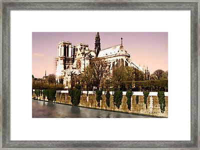Notre Dame On The Seine Framed Print by Linda  Parker