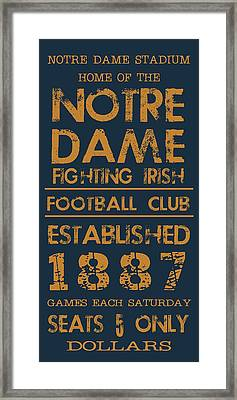 Notre Dame Stadium Sign Framed Print by Jaime Friedman