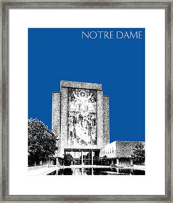 Notre Dame University Skyline Hesburgh Library - Royal Blue Framed Print by DB Artist