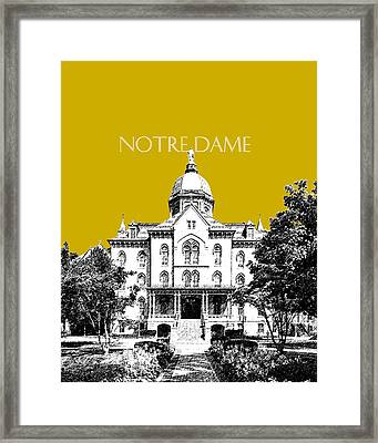 Notre Dame University Skyline Main Building - Gold Framed Print by DB Artist