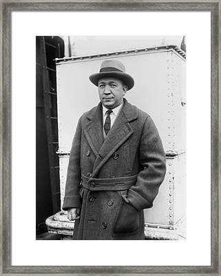 Notre Dame's Legendary Head Coach Knute Rockne On A Ship's Deck -1920s Framed Print by Mountain Dreams