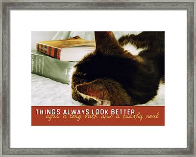 Novel Nap Quote Framed Print by JAMART Photography