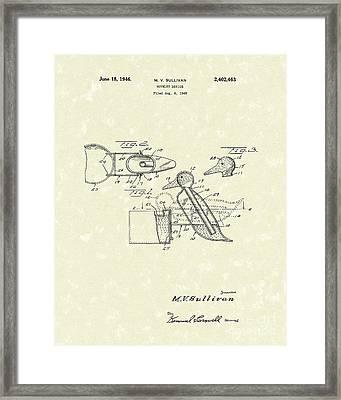 Novelty Duck 1946 Patent Art Framed Print by Prior Art Design