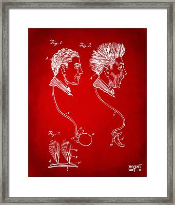 Novelty Wig Patent Artwork Red Framed Print by Nikki Marie Smith
