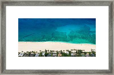 Pipeline Reef From Above Framed Print by Sean Davey