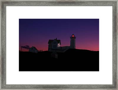Nubble At Night Framed Print by Andrea Galiffi