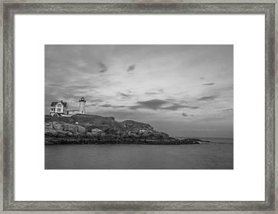 Nubble Light Cape Neddick Black And White Framed Print by John McGraw