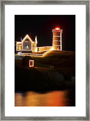 Nubble Light In York Me Cape Neddick Christmas Framed Print by Toby McGuire