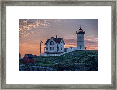 Nubble Lighthouse At Dawn Framed Print by At Lands End Photography