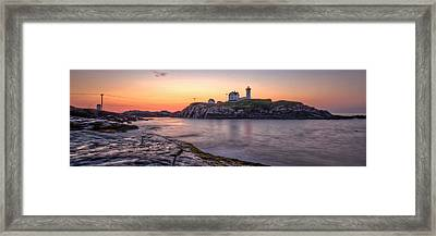 Nubble Lighthouse Before Sunrise - Panorama Framed Print by At Lands End Photography