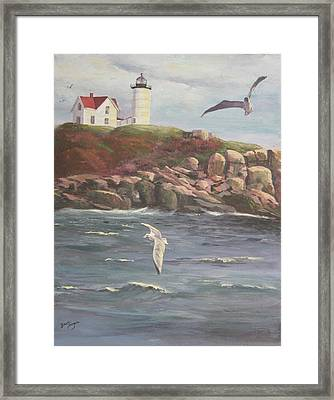 Nubble Lighthouse Framed Print by Bev Finger