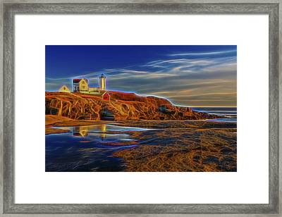 Nubble Lighthouse Neon Glow Framed Print by Susan Candelario
