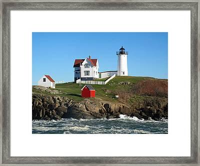 Nubble Lighthouse One Framed Print by Barbara McDevitt