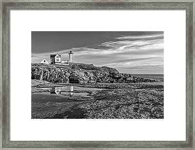 Nubble Lighthouse Reflections Bw Framed Print by Susan Candelario