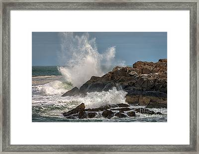 Nubble Lighthouse Waves 1 Framed Print by Scott Thorp