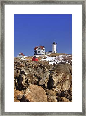 Nubble's Rocky Coastline Framed Print by Joann Vitali