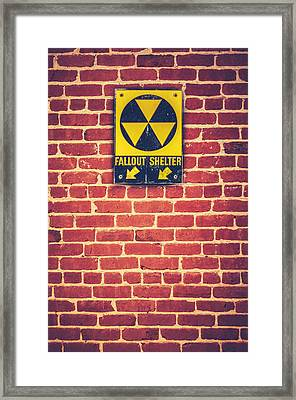 Nuclear Fallout Shelter Sign Framed Print by Mr Doomits