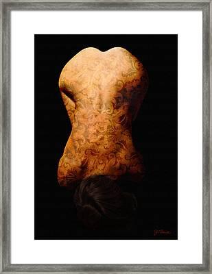 Nude In Brocade Framed Print by Joe Bonita