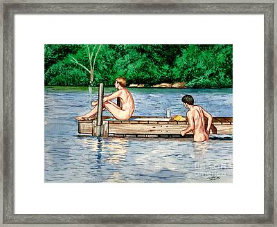 Nude Male Bathers On The Dock Framed Print by Christopher Shellhammer