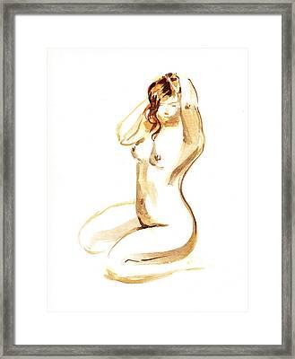 Nude Model Gesture I Framed Print by Irina Sztukowski