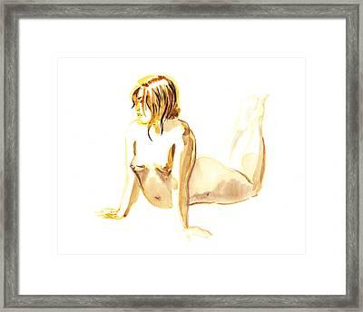 Nude Model Gesture Iv Framed Print by Irina Sztukowski