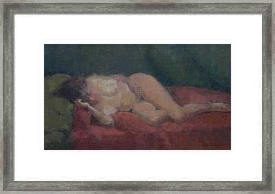 Nude On Red And Green Framed Print by Pat Maclaurin