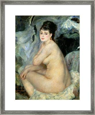 Nude Or Nude Seated On A Sofa 1876 Framed Print by Pierre Auguste Renoir