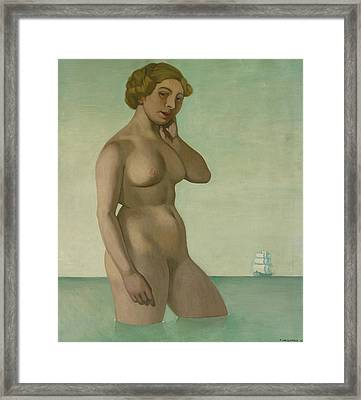Nude With A Frigate Framed Print by Felix Edouard Vallotton