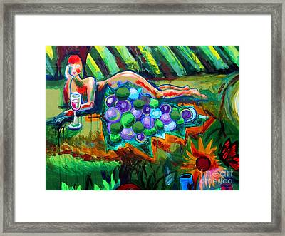 Nude With Grapes Framed Print by Genevieve Esson