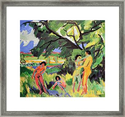 Nudes Playing Under Tree Framed Print by Ernst Ludwig Kirchner