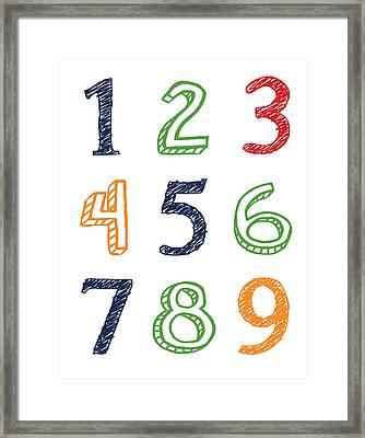 Numbers 123 Framed Print by Jaime Friedman