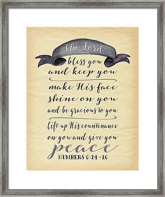 Numbers 6: 24-26 II Framed Print by Tara Moss