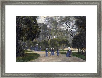 Nuns And Schoolgirls In The Tuileries Gardens Paris Framed Print by Stanislas Lepine