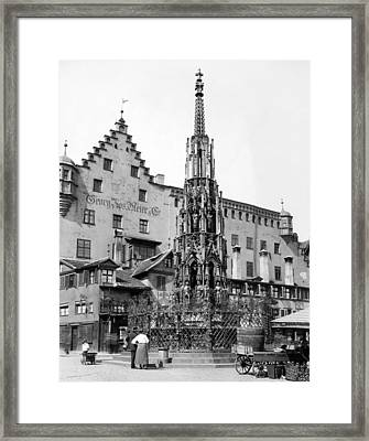 Nuremberg Beautiful Fountain Framed Print by Underwood Archives