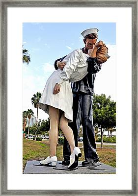 Nurse And Sailor Kissing Statue Unconditional Surrender Daytime  Framed Print by Sally Rockefeller