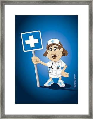 Nurse Cartoon Woman Hospital Sign Framed Print by Frank Ramspott