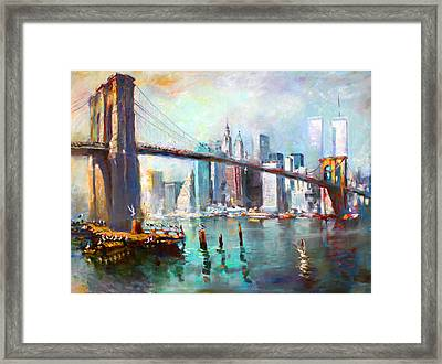 Ny City Brooklyn Bridge II Framed Print by Ylli Haruni