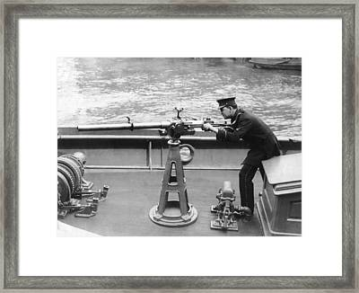Ny Police Boat Patrol Framed Print by Underwood Archives