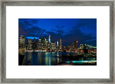 Ny Skyline From Brooklyn Heights Promenade Framed Print by Mitchell R Grosky