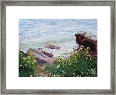 Nyack Beach Rivers Edge Framed Print by Laura Sullivan